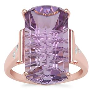 Lehrer Matrix Cut Rose De France Amethyst Ring with Diamond in 9K Rose Gold 10.98cts