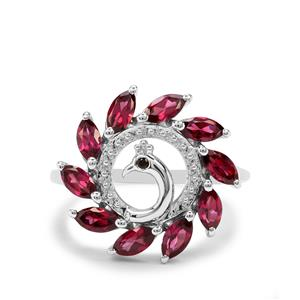 Rajasthan Garnet & Black Spinel Sterling Silver Peacock Ring ATGW 1.99cts