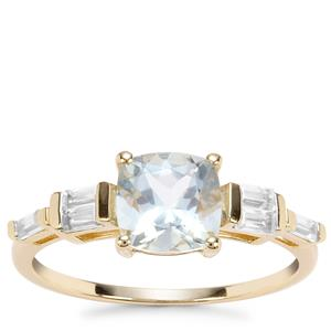 Madagascan Aquamarine Ring with White Zircon in 9K Gold 1.81cts