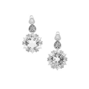 Wobito Snowflake Cut Itinga Petalite Earrings with Diamond in 9K White Gold 3.70cts