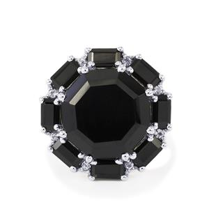 Black Spinel Ring with White Topaz in Sterling Silver 16.17cts