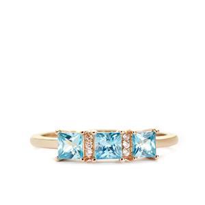 1.10ct Ratanakiri Blue & White Zircon 9K Gold Ring