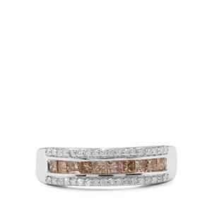 3/4ct Champagne & White Diamond 9K White Gold Tomas Rae Ring