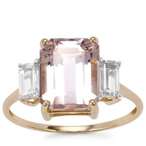 Ice Kunzite Ring with White Zircon in 10K Gold 4.28cts
