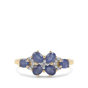 Burmese Blue Sapphire & White Zircon 9K Gold Ring ATGW 1.58cts