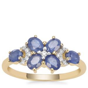 Burmese Blue Sapphire Ring with White Zircon in 9K Gold 1.58cts