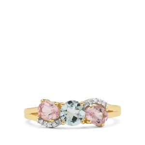 Cherry Blossom™ Morganite, Aquaiba™ Beryl & Diamond 9K Gold Ring ATGW 1.15cts