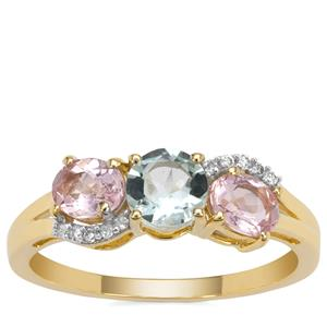 Cherry Blossom™ Morganite, Aquaiba™ Beryl Ring with Diamond in 9K Gold 1.15cts