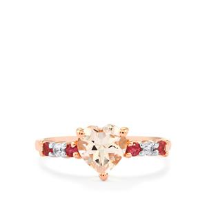 Mutala Morganite, Cruzeiro Rubellite Ring with White Zircon in 10K Rose Gold 1.28cts