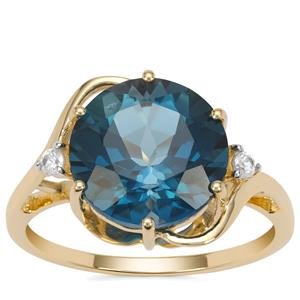 Marambaia London Blue Topaz Ring with White Zircon in 9K Gold 6.35cts