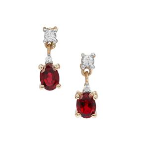 Burmese Red Spinel Earrings with White Zircon in 9K Gold 0.50ct