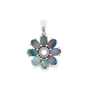 Boulder Opal Pendant with White Topaz in Sterling Silver