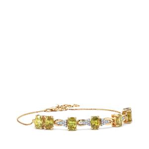 Ambilobe Sphene Bracelet with Diamond in 18K Gold 7.54cts