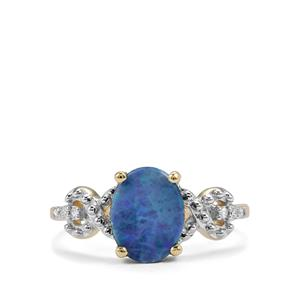 Crystal Opal on Ironstone & Diamond 10K Gold Ring