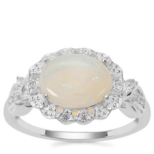 Coober Pedy Jelly Opal Ring with White Zircon in Sterling Silver 1.57cts