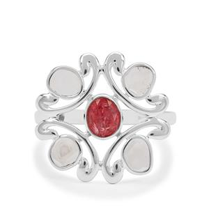 Polki Diamond Ring with Pink Spinel in Sterling Silver 1.10cts