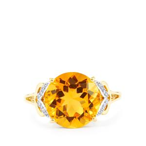 Diamantina Citrine Ring with Diamond in 9K Gold 4.35cts