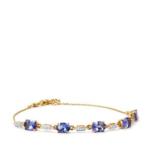 AA Tanzanite Bracelet with Diamond in 18K Gold 3.82cts