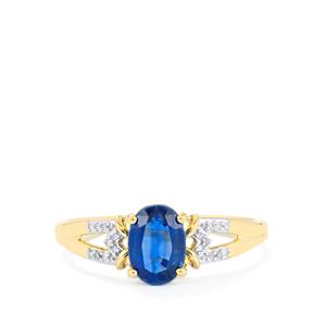 Daha Kyanite Ring with Diamond in 10k Gold 1.21cts