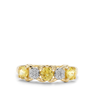 Ambilobe Sphene & White Zircon 9K Gold Ring ATGW 1.17cts
