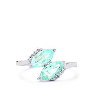 Paraiba Tourmaline Ring with Diamond in 10k White Gold 1.11cts