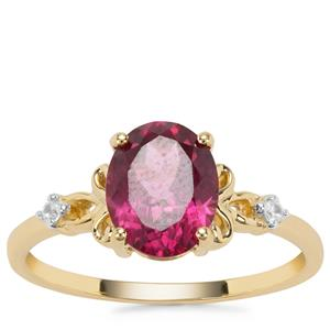 Mahenge Purple Garnet Ring with White Zircon in 9K Gold 2.33cts