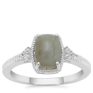 Type A Burmese Jadeite Ring with White Zircon in Sterling Silver 1.92cts