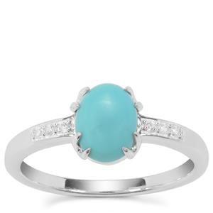 Sleeping Beauty Turquoise Ring with White Zircon in Sterling Silver 1.16cts