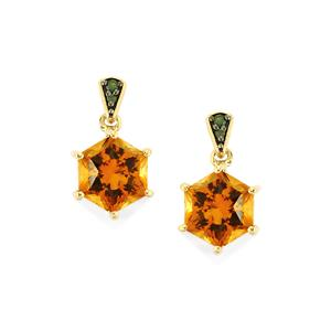 Santa Ana Citrine Polaris Earrings with Green Diamond in 9K Gold 3.24cts