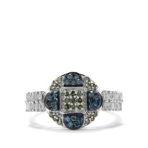 1/2ct Green, Blue & White Diamond Sterling Silver Ring