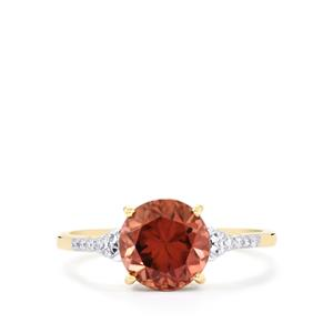 Zanzibar Zircon Ring with Diamond in 14K Gold 3.04cts