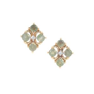 Alexandrite & Diamond 9K Gold Earrings ATGW 0.41cts