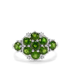 Chrome Diopside & Diamond Sterling Silver Ring ATGW 2.46cts