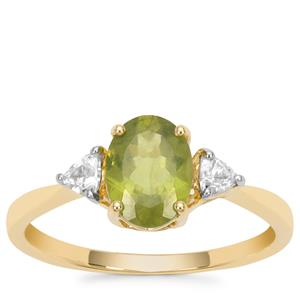 Vesuvianite Ring with White Zircon in 9K Gold 1.65cts