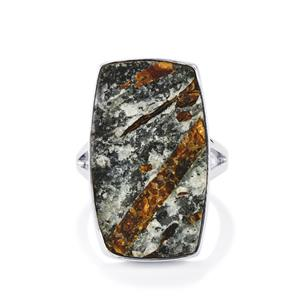 Astrophyllite Drusy Ring in Sterling Silver 21cts