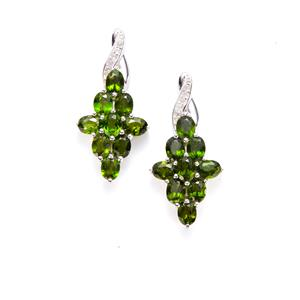 Chrome Diopside Earrings with White Topaz in Sterling Silver 3.79cts