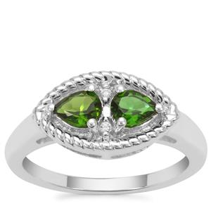 Chrome Diopside Ring with White Zircon in Sterling Silver 0.65ct