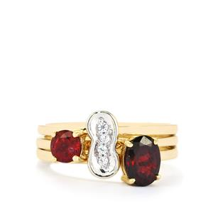 Burmese Red Spinel Set of 3 Stacker Rings with White Zircon in 10k Gold 1.36cts