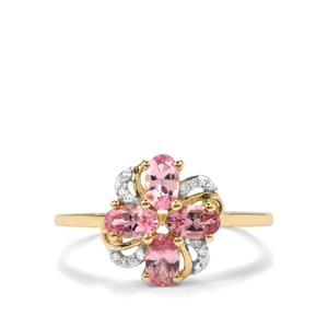 Mozambique Pink Spinel & Diamond 10K Gold Ring ATGW 1.08cts