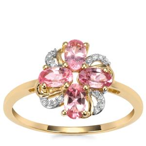Mozambique Pink Spinel Ring with Diamond in 10K Gold 1.08cts