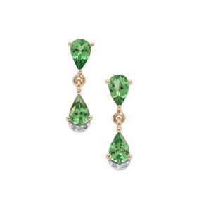 Tsavorite Garnet Earrings with Diamond in 9K Gold 1.60cts