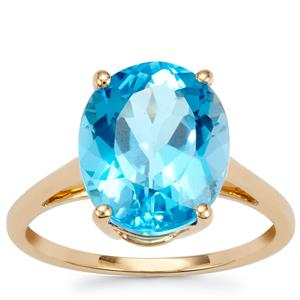 Swiss Blue Topaz Ring in 9K Gold 5.49cts