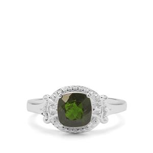 Chrome Diopside Ring with White Zircon in Sterling Silver 1.81cts