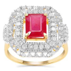 Montepuez Ruby Ring with Diamond in Gold Plated Sterling Silver 4.10cts (F)