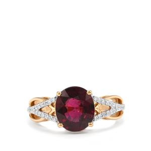 Malawi Garnet Ring with Diamond in 18K Gold 3.84cts
