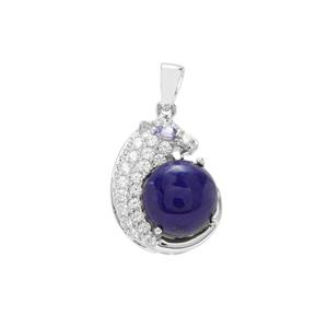 Lapis Lazuli, Tanzanite Pendant with White Zircon in Sterling Silver 8cts