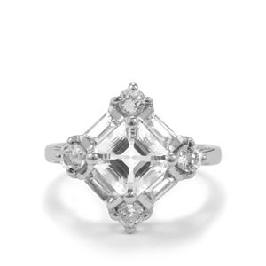 3.45ct White Topaz Sterling Silver Asscher Cut Ring