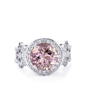 Rose De France Amethyst Ring with White Zircon in Sterling Silver 3.86cts