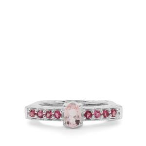 Zambezia Morganite & Oyo Pink Tourmaline Sterling Silver Ring ATGW 0.70ct