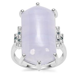 Blue Lace Agate Ring with Blue Diamond in Sterling Silver 15.24cts